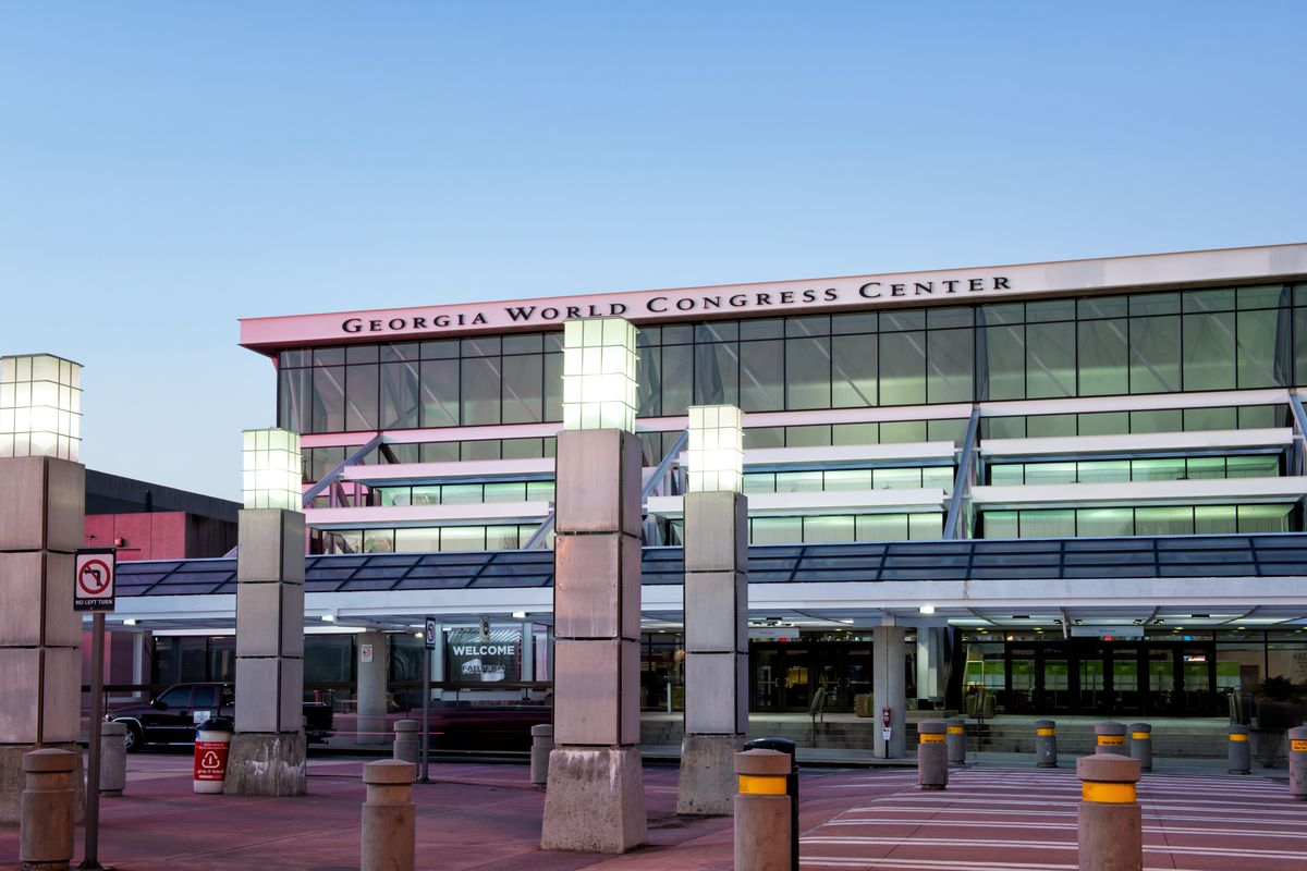 A convention center shown from the outside.