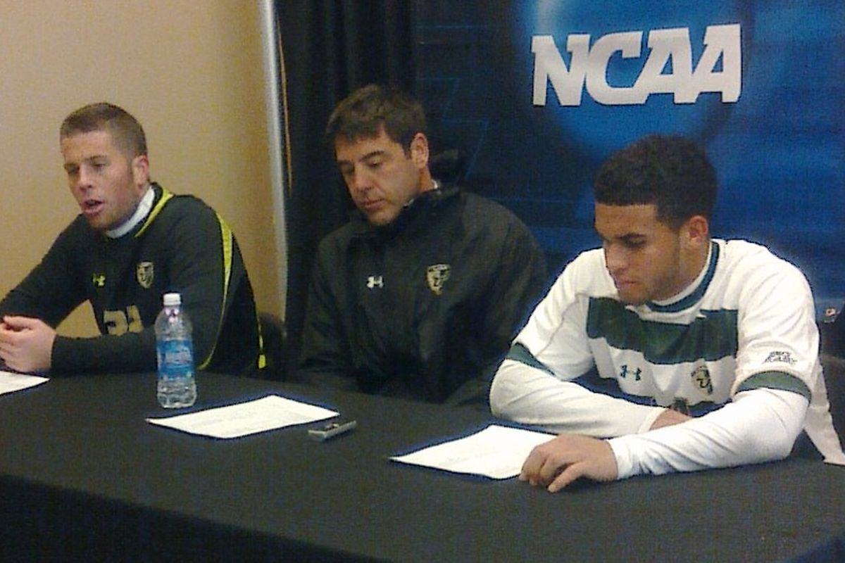Dom Dwyer (right) with Chris Blais and George Keifer after USF's 1-0 loss to Creighton. Dwyer will leave USF after one season with the Bulls and will join MLS.