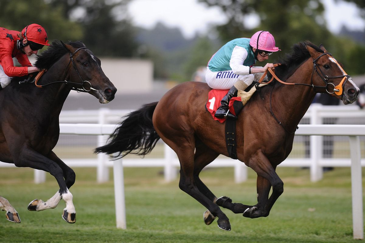 ESHER, ENGLAND - MAY 26:  Ryan Moore riding Workforce (R) win The Piper Heidsieck Champagne Brigadier Gerard Stakes from Poet and Adam Kirby at Sandown racecourse on May 26, 2011 in Esher, England.  (Photo by Alan Crowhurst/ Getty Images)