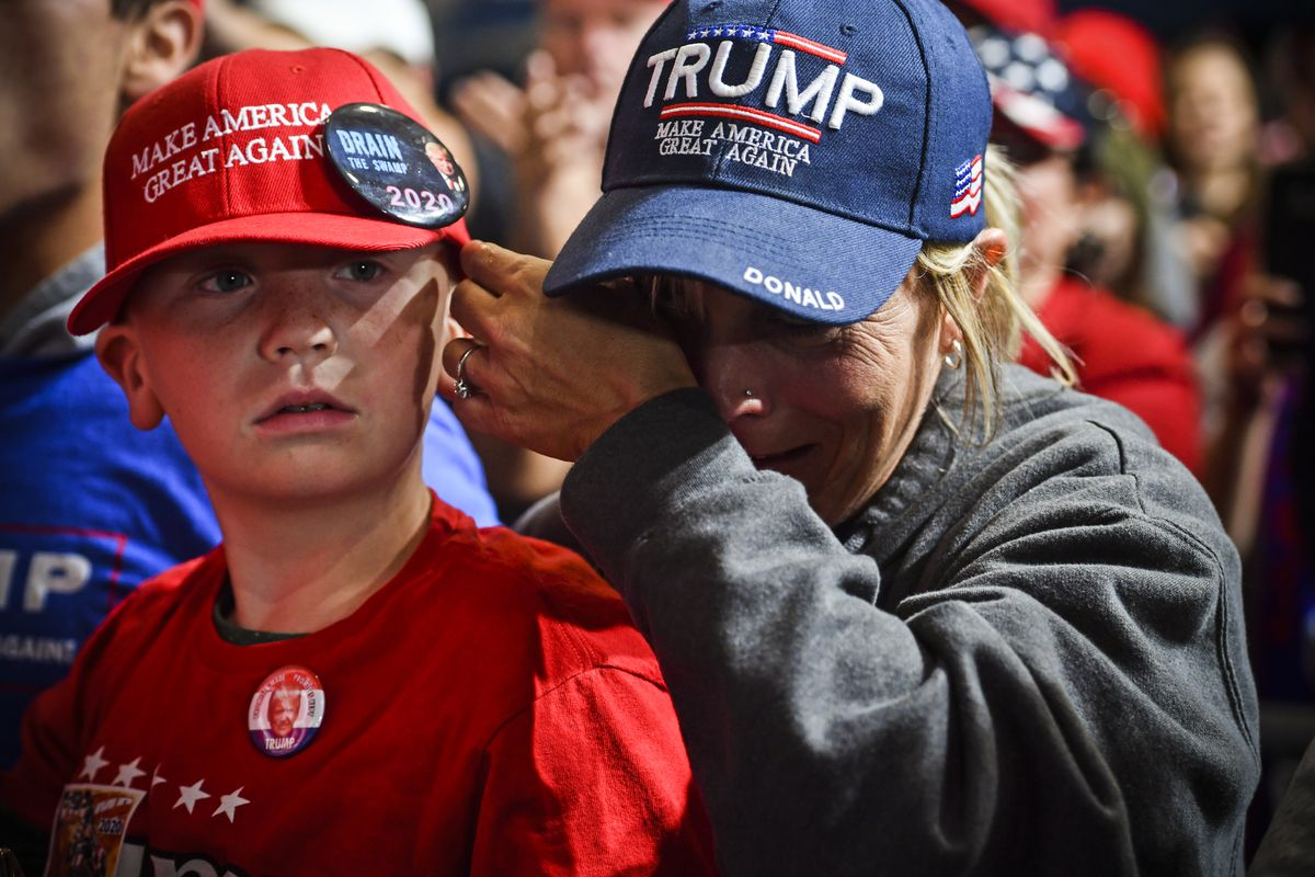 "Supporters of President Trump attend a ""Make America Great Again"" rally in Lebanon, Ohio, on October 12, 2018."