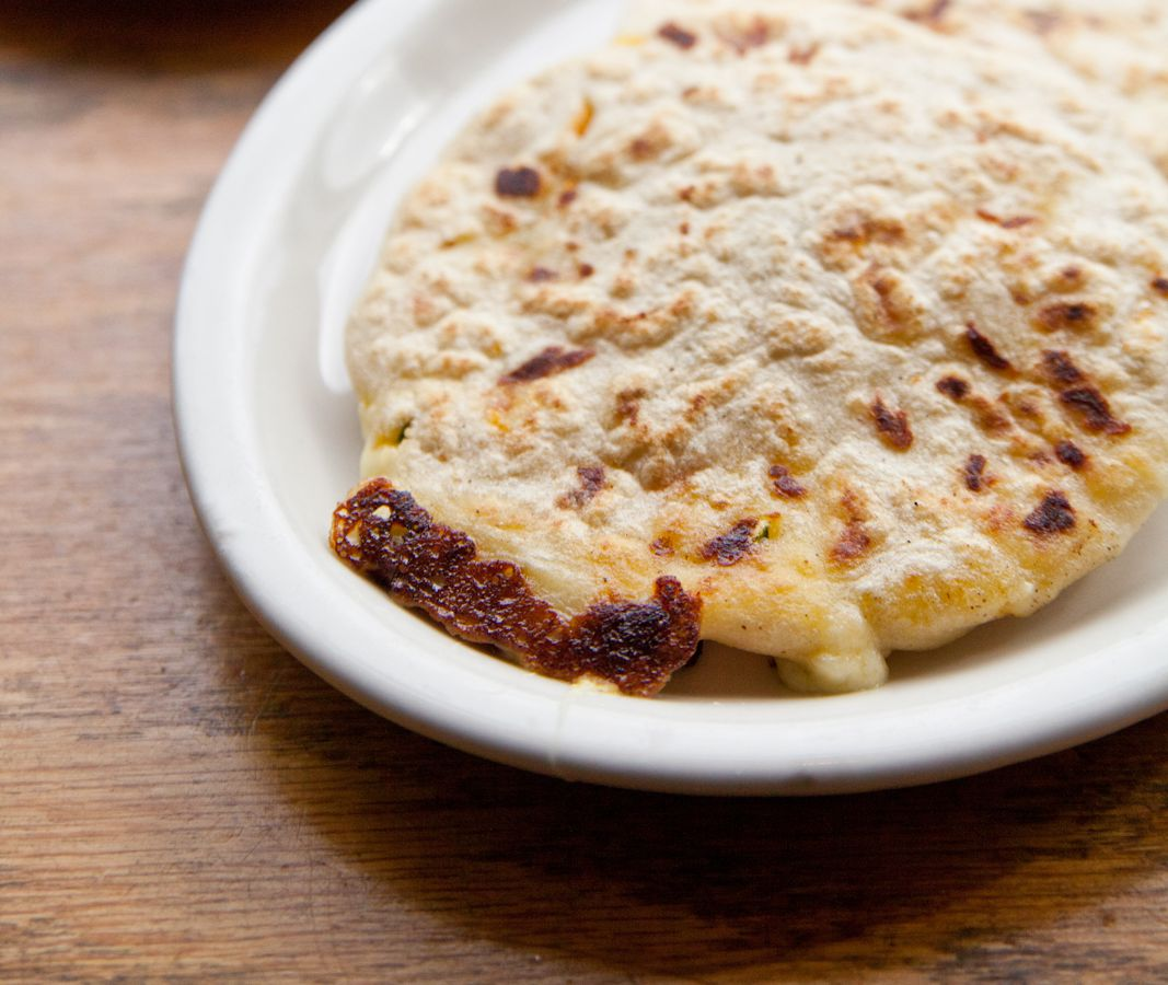 A squash and cheese pupusa from La Casita