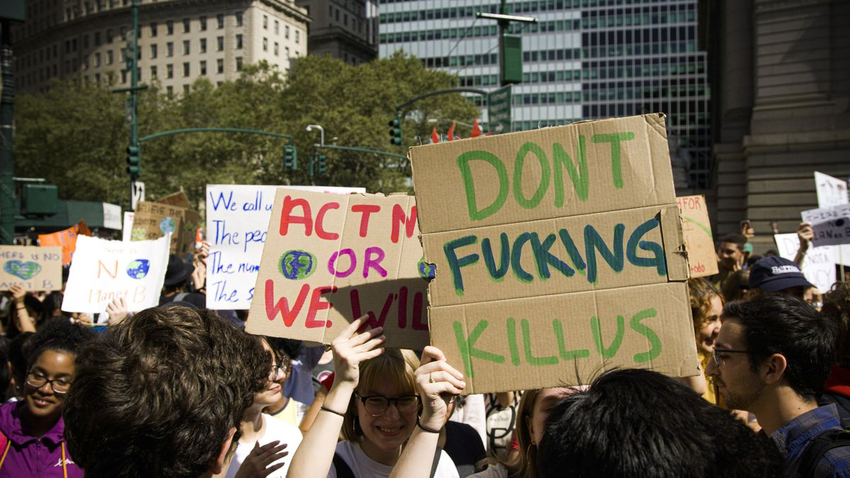 """Global Climate Strike protesters in New York City hold up signs. One reads, """"Don't fucking kill us."""""""