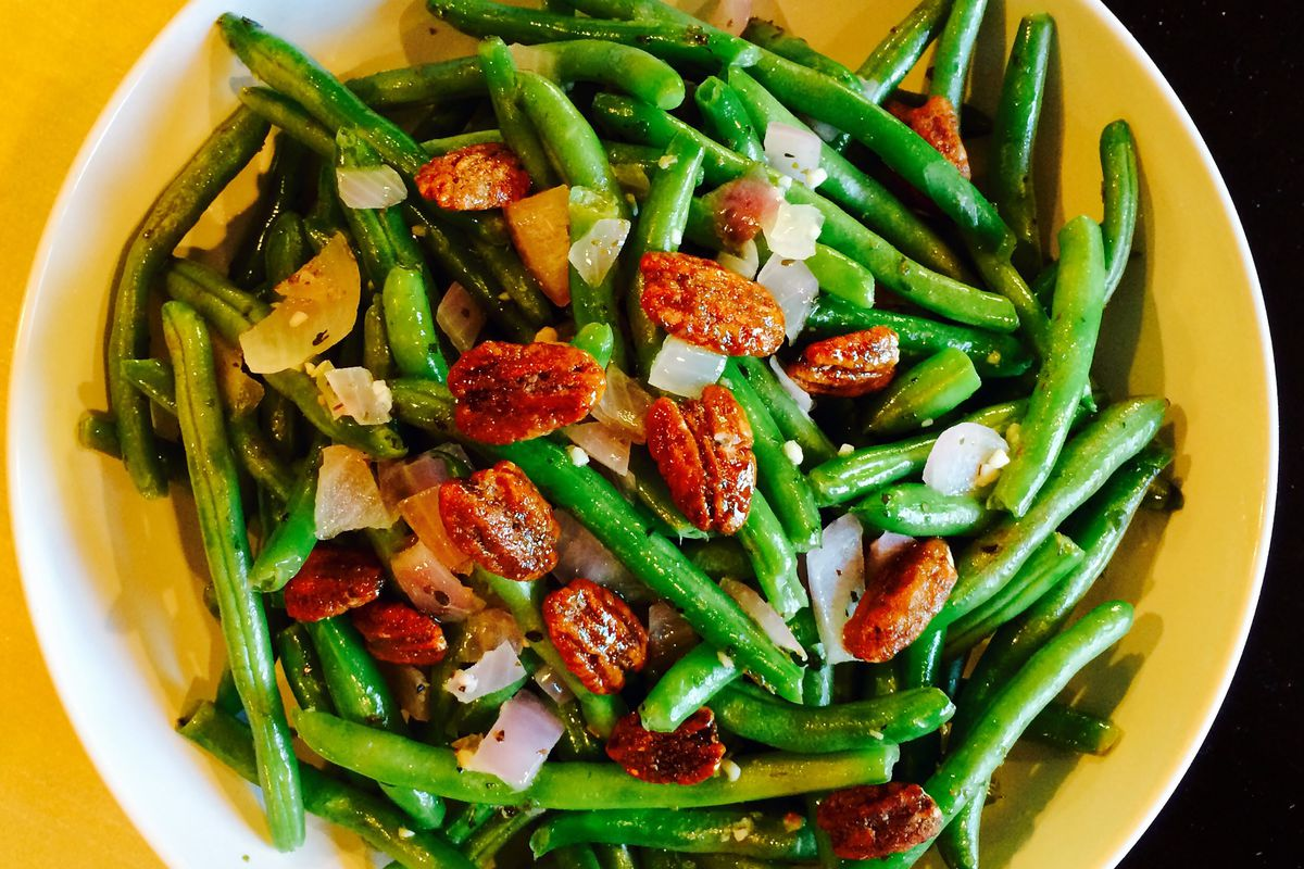 Menu Planner: Buttery green beans with glazed pecans can be part of a sumptuous meal