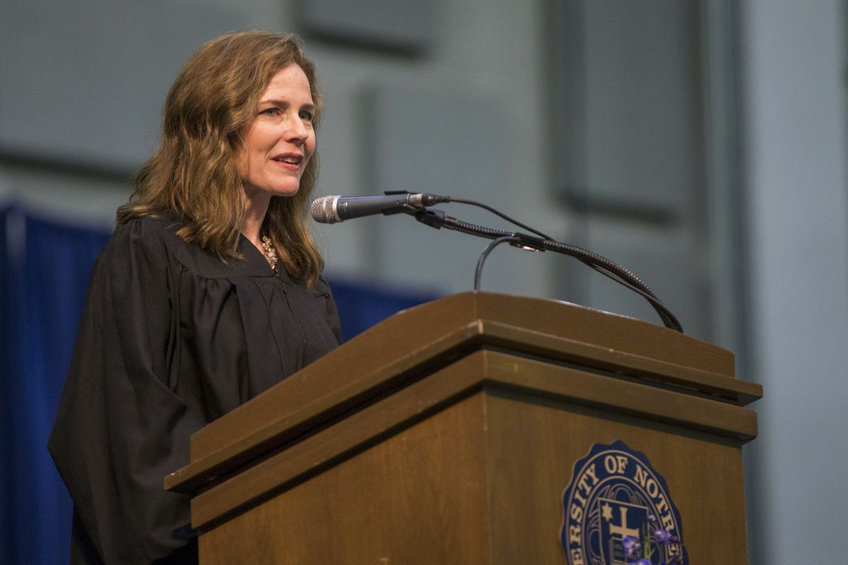 FILE - In this May 19, 2018, file photo, Amy Coney Barrett, United States Court of Appeals for the Seventh Circuit judge, speaks during the University of Notre Dame's Law School commencement ceremony at the university, in South Bend, Ind. Barrett, a front-runner to fill the Supreme Court seat vacated by the death of Justice Ruth Bader Ginsburg, has established herself as a reliable conservative on hot-button legal issues from abortion to gun control. (Robert Franklin/South Bend Tribune via AP, File) ORG XMIT: INSBE771