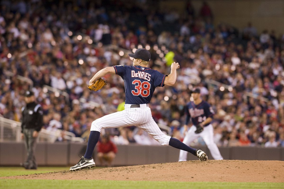 MINNEAPOLIS, MN - SEPTEMBER 8:  Cole De Vries #38 of the Minnesota Twins delivers a pitch in the third inning against the Cleveland Indians at Target Field on September 8, 2012 in Minneapolis, Minnesota.  (Photo by Marilyn Indahl/Getty Images)