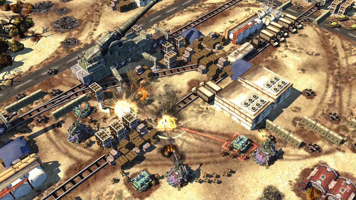 A desert battle scene in War Commander: Rogue Assault