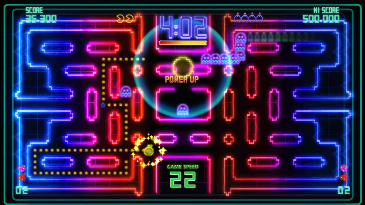 Pac-Man Championship Edition DX+ - rainbow-colored level