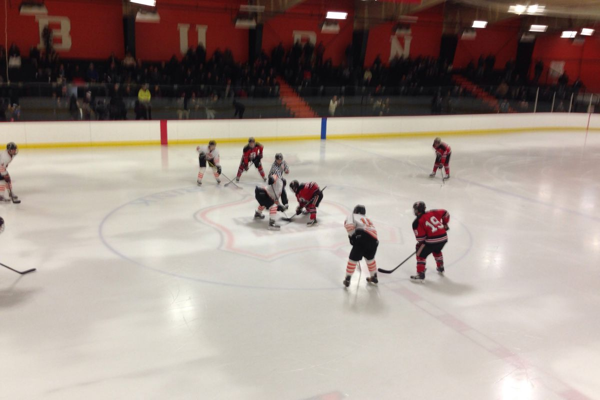 Woburn faces-off against Reading in a Middlesex League game at O'Brien Rink earlier this season.