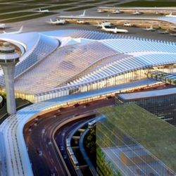 """Studio ORD's proposal for the design of a new """"global terminal at O'Hare International Airport was unveiled in January. The terminal will replace the existing Terminal 2, and allow passengers to connect directly between domestic and international flights without traveling to the international terminal, also known as Terminal 5. 