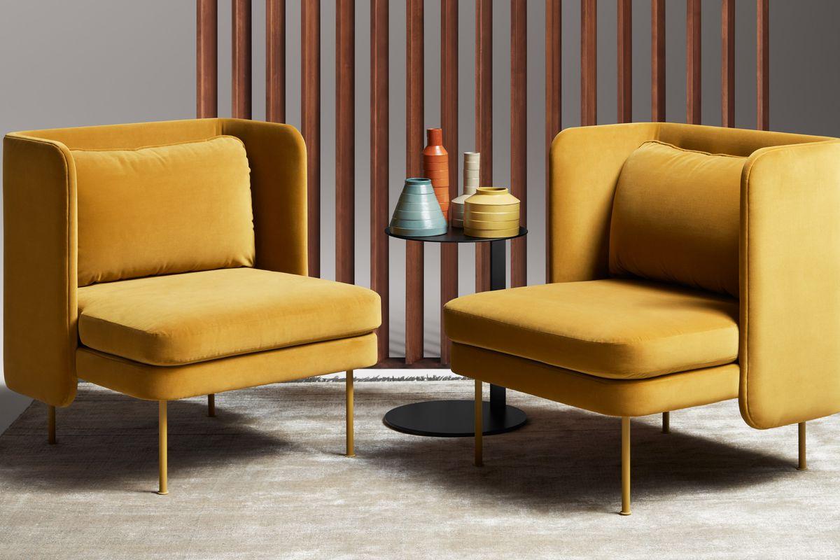 yellow velvet arm chairs