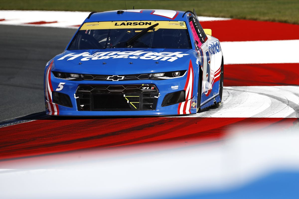 Kyle Larson, driver of the #5 HendrickCars.com Chevrolet, drives during the NASCAR Cup Series Bank of America ROVAL 400 at Charlotte Motor Speedway on October 10, 2021 in Concord, North Carolina.