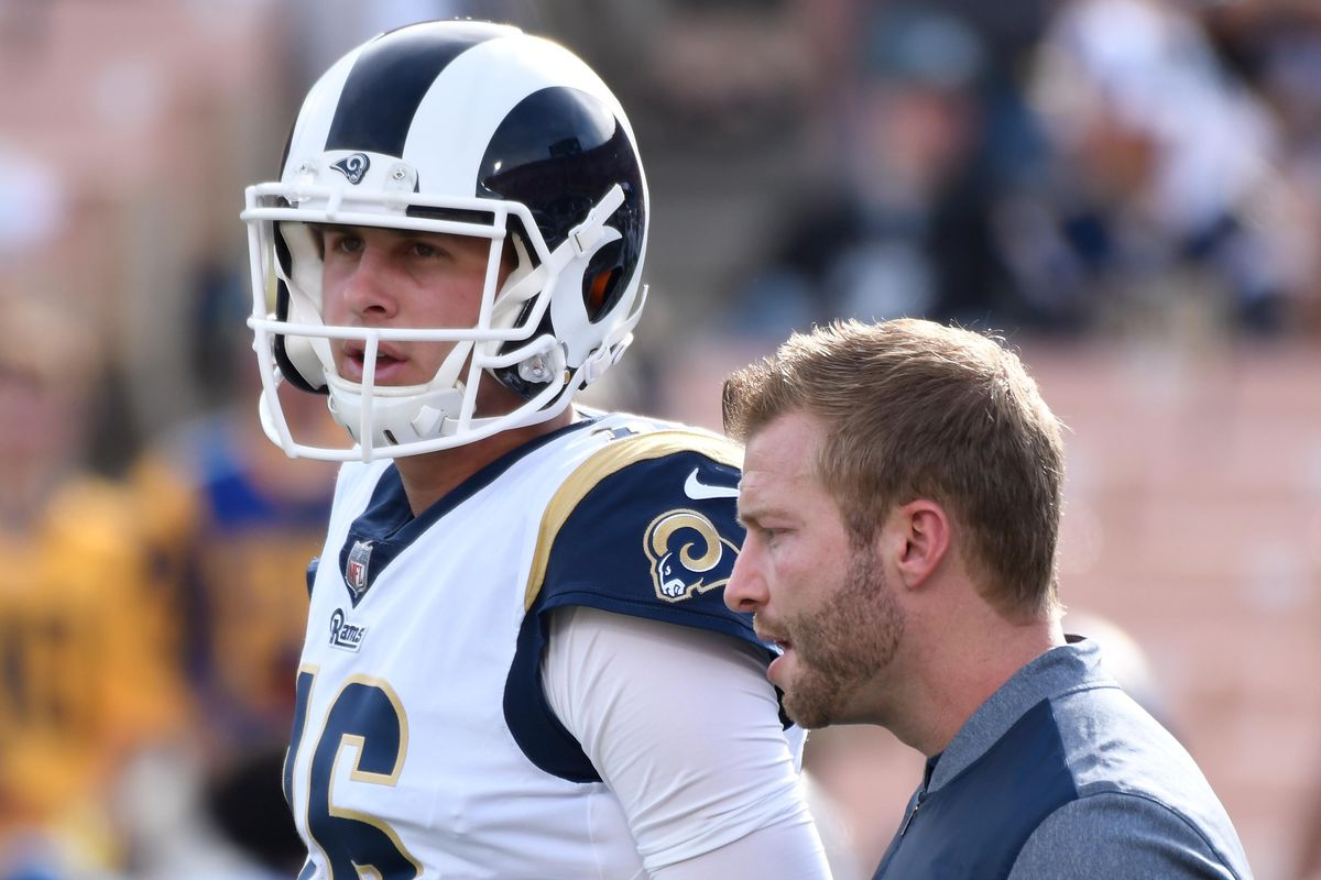 Los Angeles Rams QB Jared Goff and HC Sean McVay talk prior to their Week 14 game against the Philadelphia Eagles, December 10, 2017.