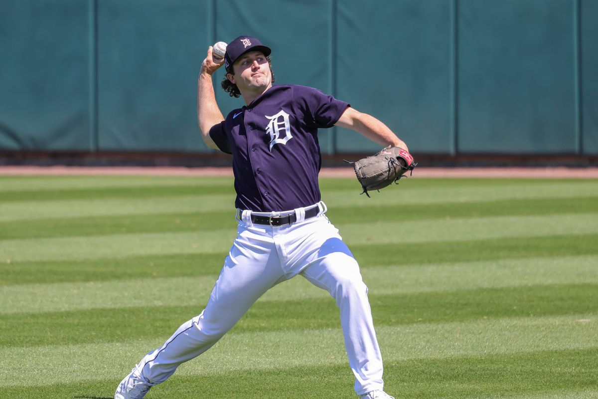 Detroit Tigers starting pitcher Casey Mize throws the ball before the game against the Toronto Blue Jays at Publix Field at Joker Marchant Stadium.