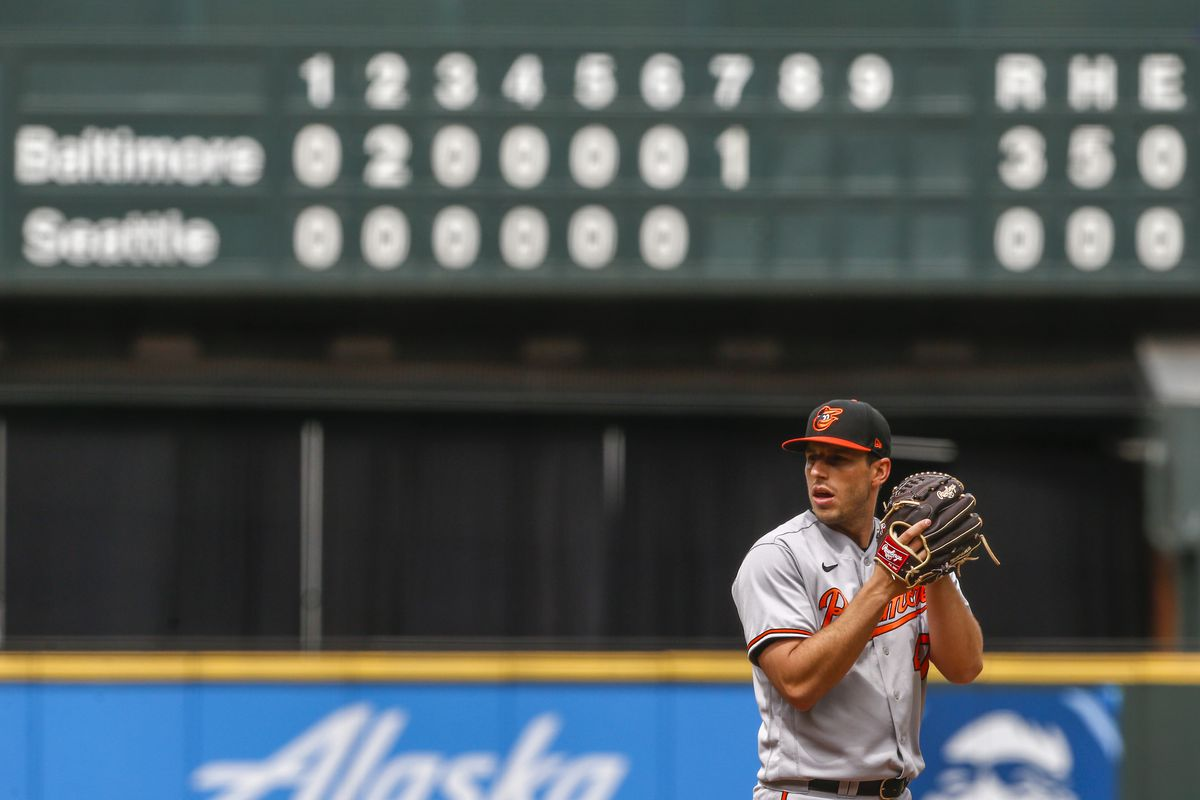 Baltimore Orioles starting pitcher John Means (47) stands on the mound against the Seattle Mariners during the seventh inning at T-Mobile Park.