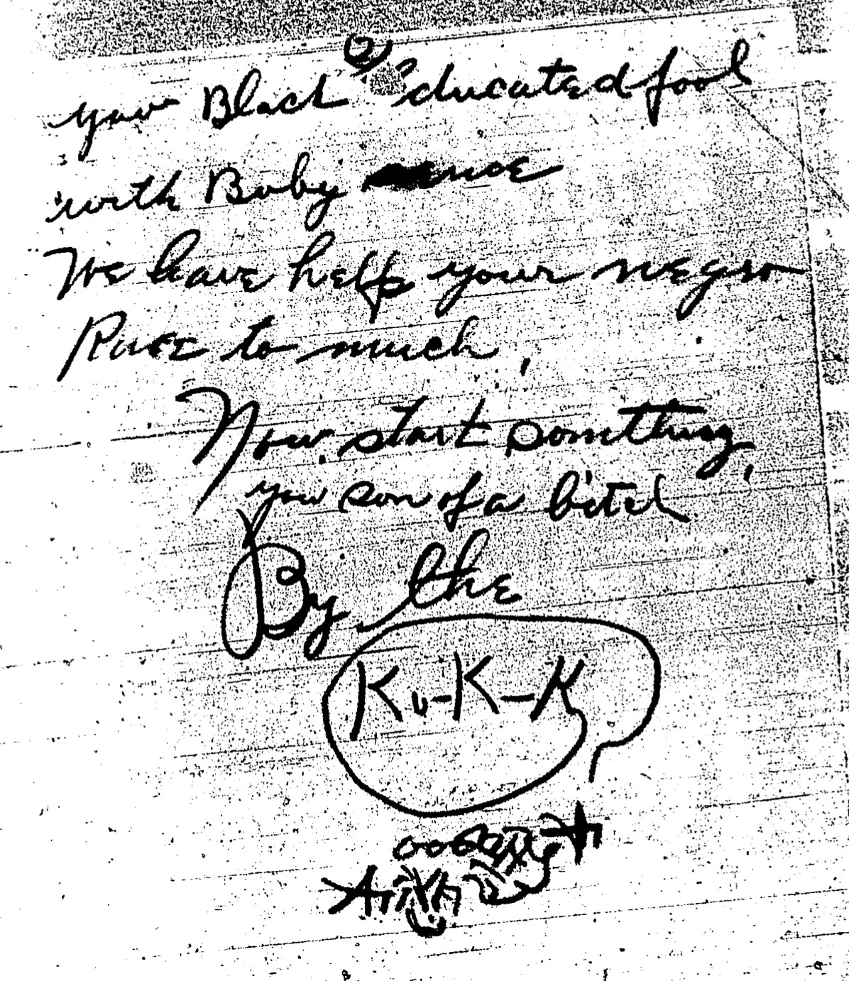 """Threatening letter sent to U.S. Rep. Oscar De Priest, purportedly by the """"K.K.K."""""""