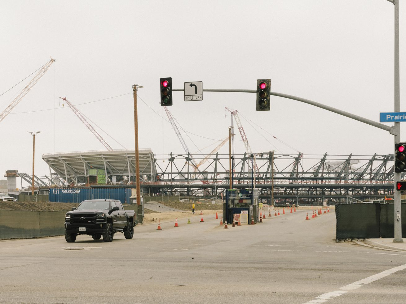 The NFL stadium under construction in Inglewood.