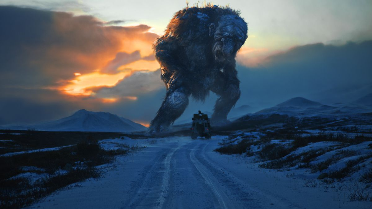 Trollhunter - troll towering above a vehicle