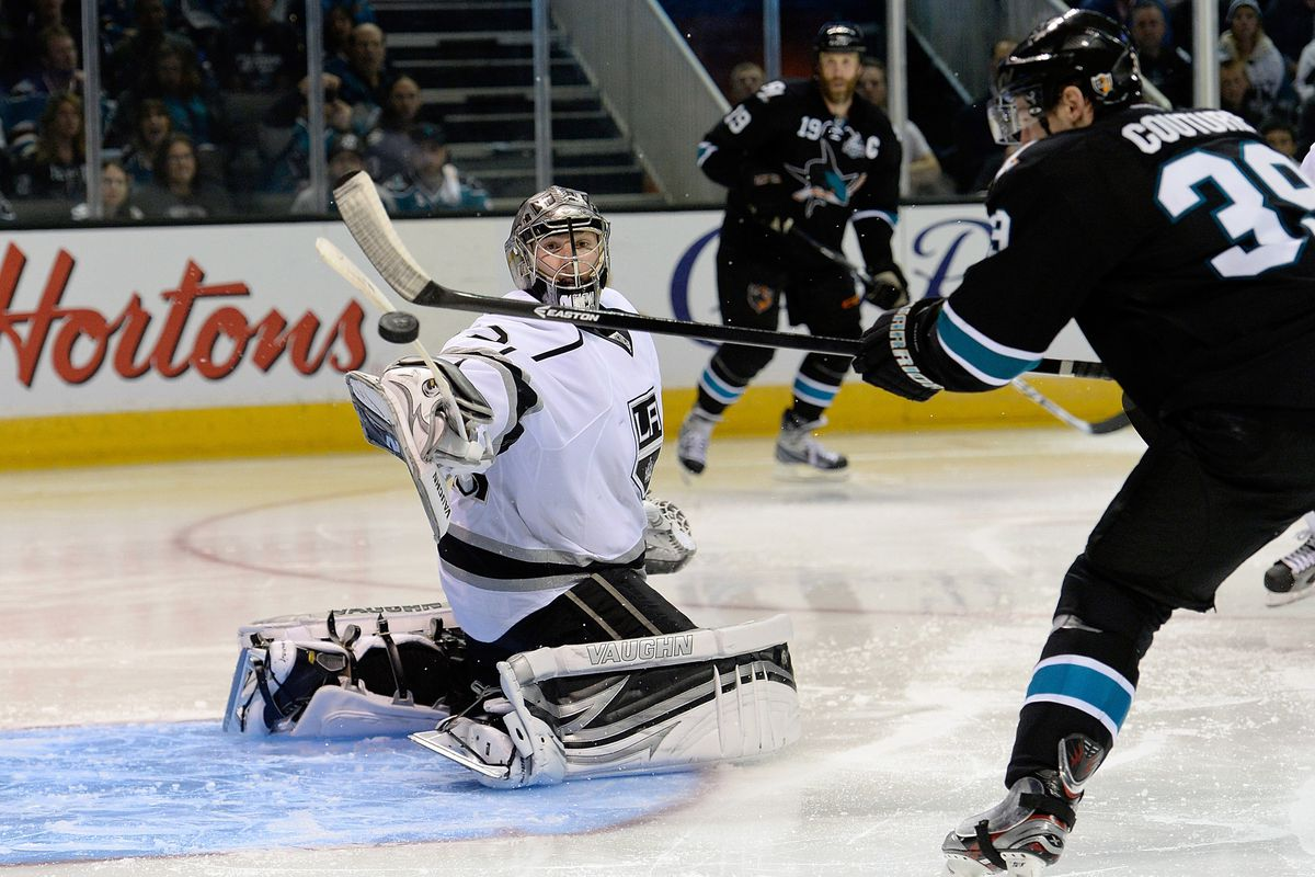 Jonathan Quick faces a deflected shot by a large rodent