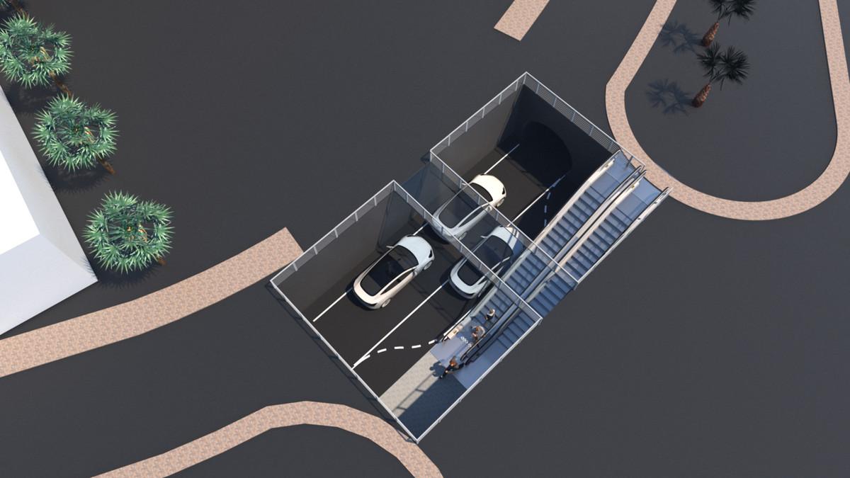 Un rendu de l'entrée d'une station souterraine Boring Company Vegas Loop dans un parking avec deux escaliers mécaniques descendant dans la chaussée.