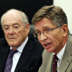 President and CEO Richard Nelson of the Utah Technology Council speaks during a roundtable in Cottonwood Heights, Thursday, Nov. 20, 2014, concerning immigration reform. In the background is President and CEO Stan Parrish of the Sandy Chamber of Commerce.
