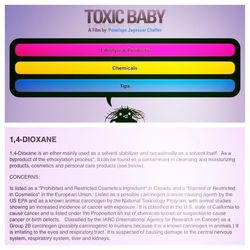 The app will include a chemcyclopedia, a listing of over 500 chemicals of concerns that can be found in beauty products and other common household products. Here's a listing on 1,4-dioxane, a possible carcinogen that can be found in shampoos and soaps tha