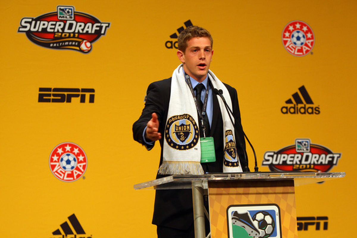 BALTIMORE - JANUARY 13: Fifth selection Zac MacMath of the Philadelphia Union speaks to the audience during the 2011 MLS SuperDraft on January 13 2011 at the Baltimore Convention Center in Baltimore Maryland. (Photo by Ned Dishman/Getty Images)