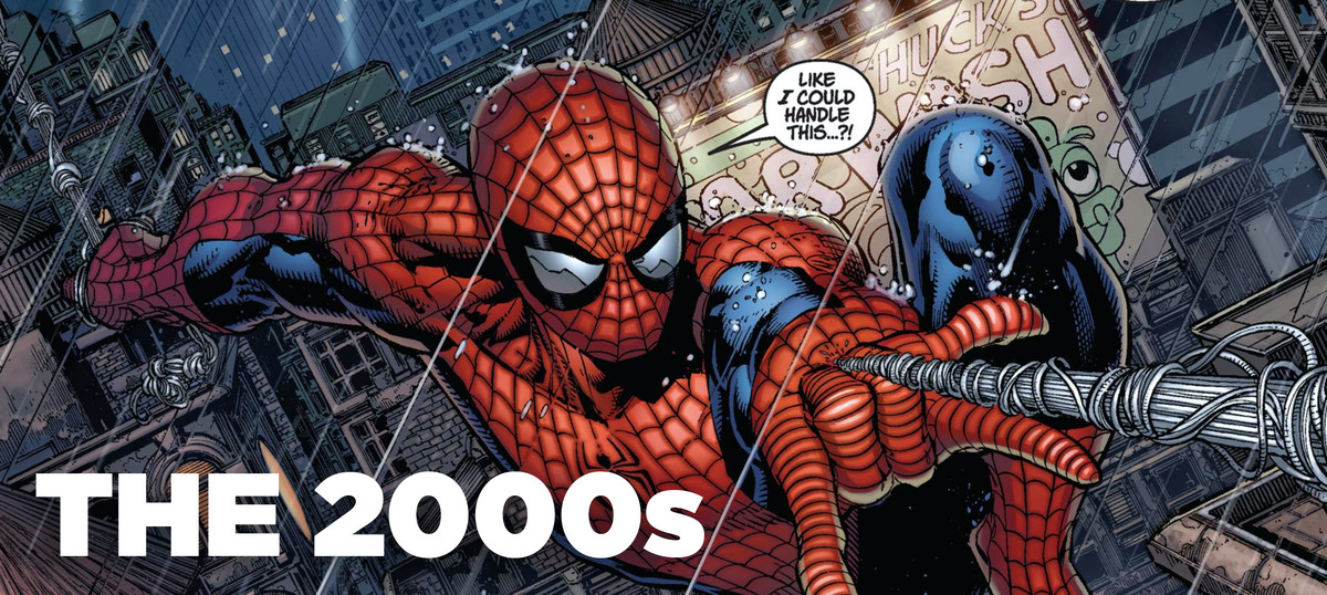 Peter Parker/Spider-Man of the Ultimate Universe swings through the streets of New York in Ultimatum #1, Marvel Comics (2008).