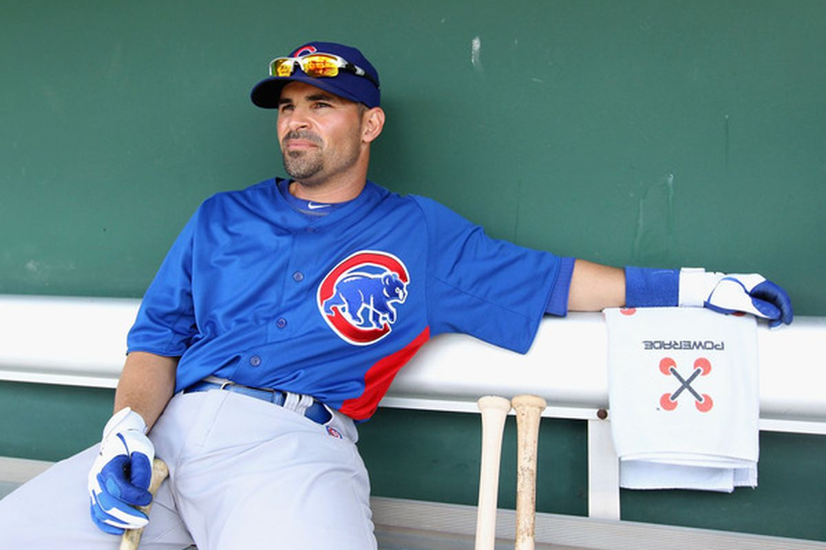 Augie Ojeda of the Chicago Cubs sits in the dugout before the spring training game against the San Francisco Giants at Scottsdale Stadium on March 1, 2011 in Scottsdale, Arizona.  (Photo by Christian Petersen/Getty Images)