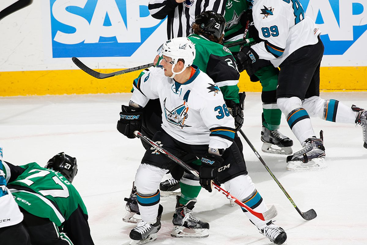 San Jose Barracuda forward Micheal Haley in action during the Barracuda's 3-2 loss to the Texas Stars at SAP Center Sunday evening. (SJBarracuda.com)