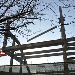 Girder going up in right field -