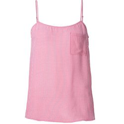 A spaghetti-strapped gingham tank in a pretty pink will work wonderfully with blue or white denim.