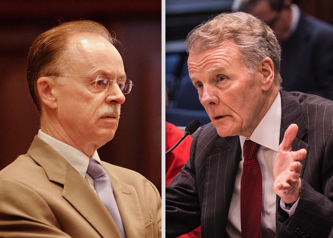 Then House Speaker Mike Madigan's chief of staff, Tim Mapes, left, in 2007; Speaker Mike Madigan, right, in 2017.