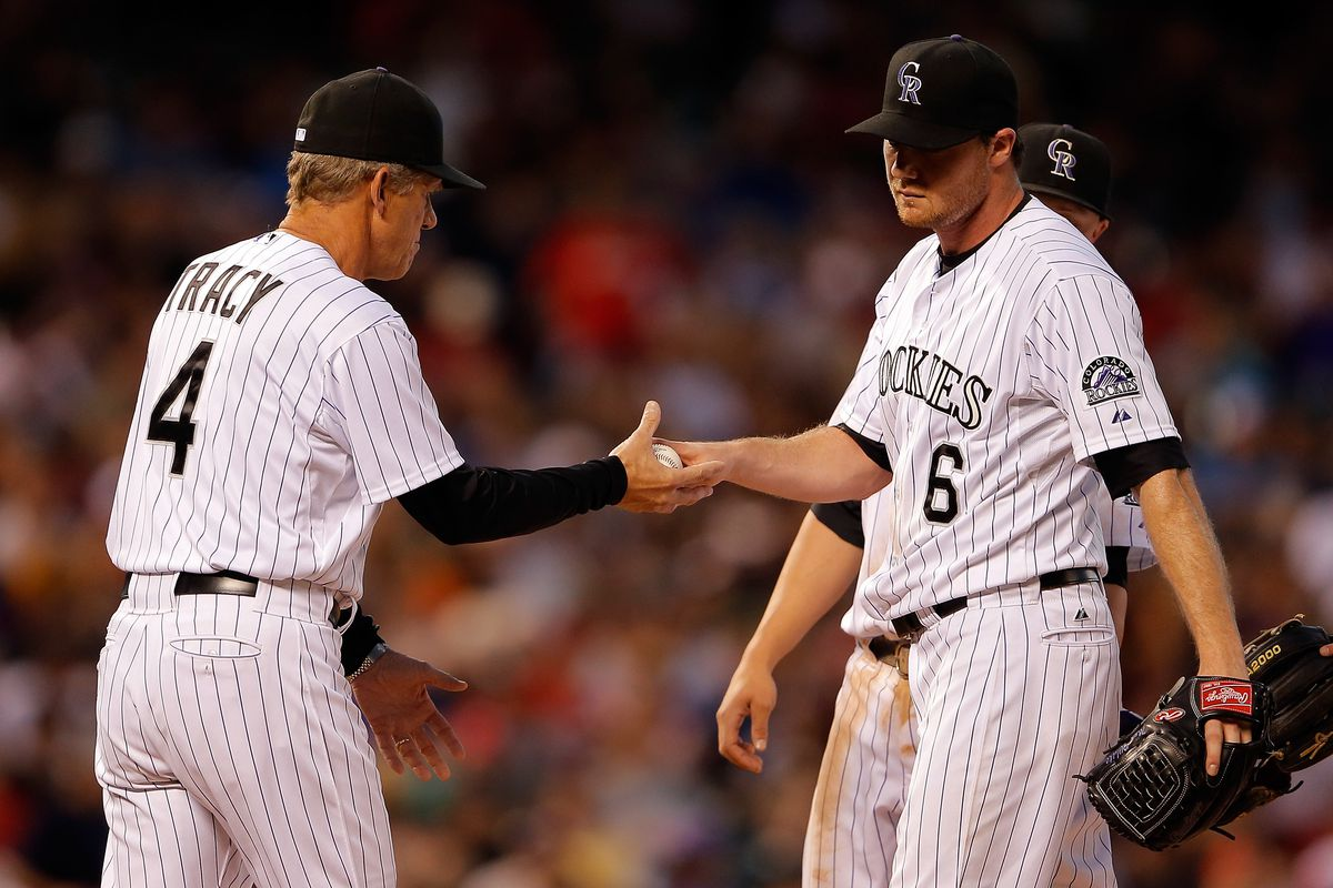 Manager Jim Tracy #4 of the Colorado Rockies removes starting pitcher Alex White #6 of the Colorado Rockies from the game in the sixth inning against the St. Louis Cardinals at Coors Field in Denver, Colorado.  (Photo by Doug Pensinger/Getty Images)