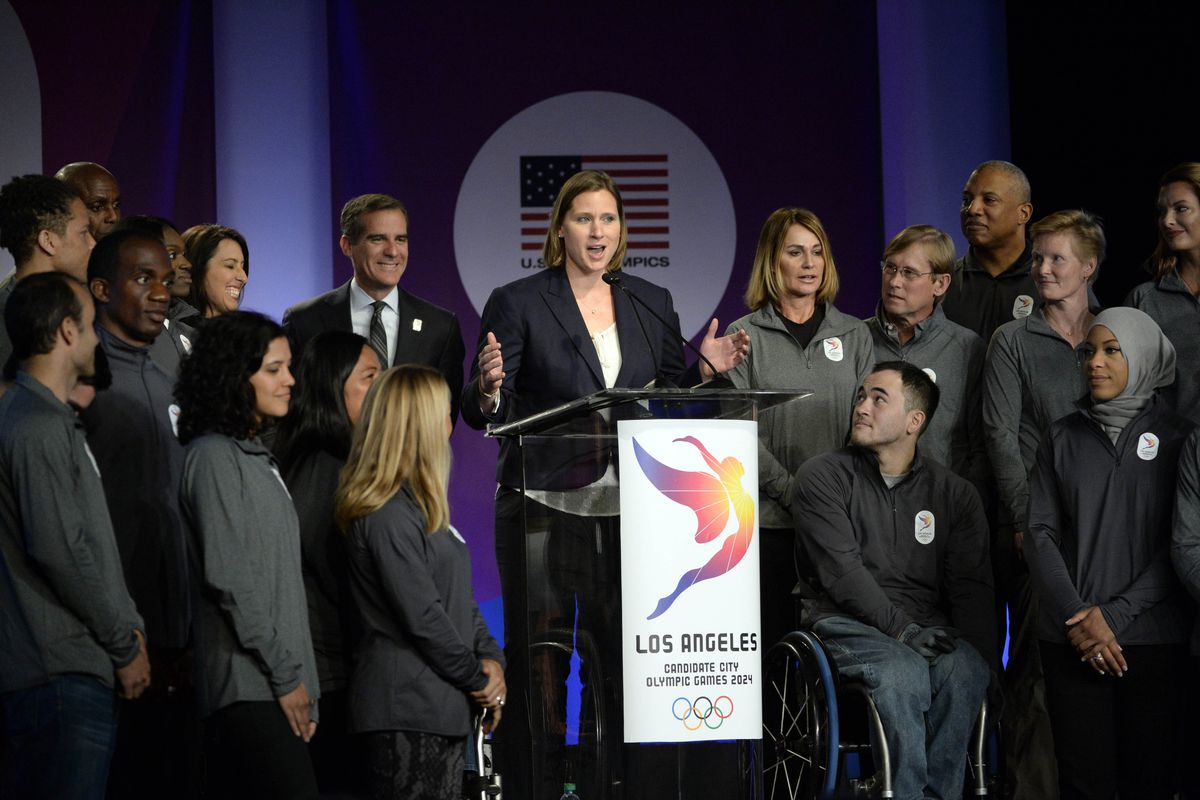 Mar 8, 2016; Los Angeles, CA, USA; Team USA hockey player Angela Ruggiero speaks during a press conference at the 2016 Team USA Media Summit at Beverly Hilton.