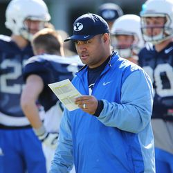 Brigham Young Cougars assistant coach Reno Mahe watches during practice in Provo on Wednesday, March 8, 2017.