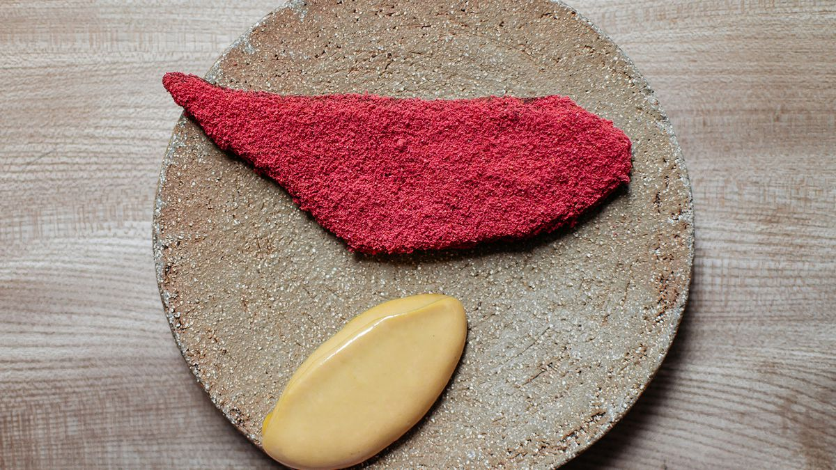 Scotch bonnet plantain with raspberry salt at contemporary west African Michelin star restaurant Ikoyi, London