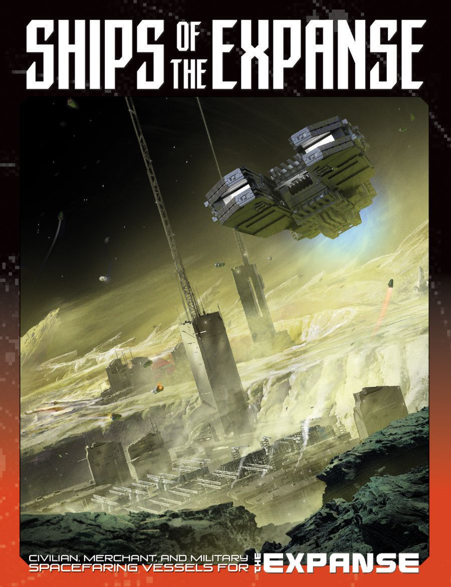 Cover art for Ships of the Expanse shows a heavy ship passing over the surface of Mars.