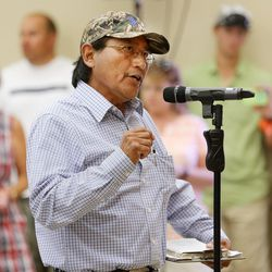 Harrison Johnson speaks in opposition to the monument during a meeting in Bluff with Interior Secretary Sally Jewell about the preposed Bears Ears National Monument in southern Utah on Saturday, July 16, 2016.