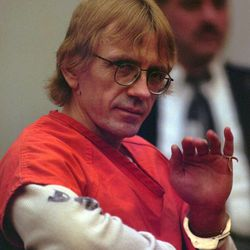 Avowed racist and convicted murderer Joseph Paul Franklin gestures while seated in the courtroom in Clayton, Mo., on Feb. 27, 1997. Franklin, who threatened to kill again if allowed to live, was sentenced to death for killing a man in a sniper shooting at a synagogue in 1977. The 46-year-old Franklin represented himself during the trial and had asked the all-white, all-male jury for the death sentence, thanking the court for a fair trail after the sentencing. Franklin is scheduled to be executed early Wednesday in Missouri.