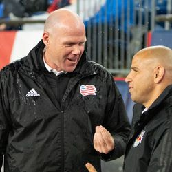FOXBOROUGH, MA - APRIL 20: New York Red Bulls coach Chris Armas talks with Brad Friedel prior to kickoff at Gillette Stadium on April 20, 2019 in Foxborough, Massachusetts. (Photo by J. Alexander Dolan - The Bent Musket)