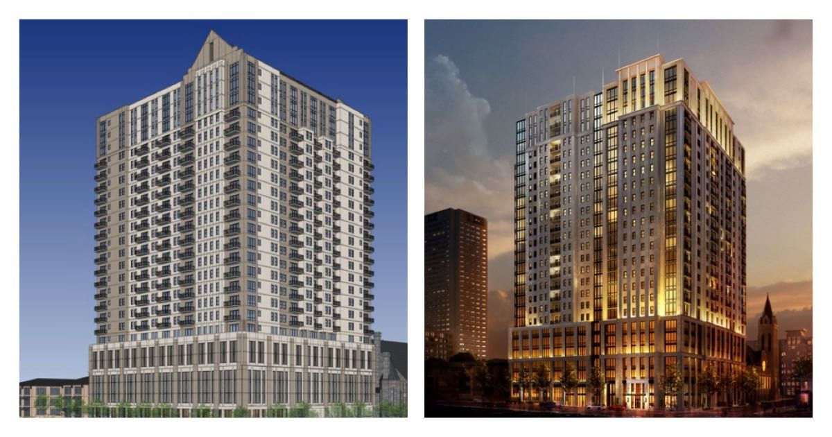 One rendering (left) shows a stocky, plain grey and white tower with a Gothic-style gabled roof. At right, a newer rendering of the same tower shows the gable is gone, and the balconies are now embedded in the architecture. The latter rendering is also sh