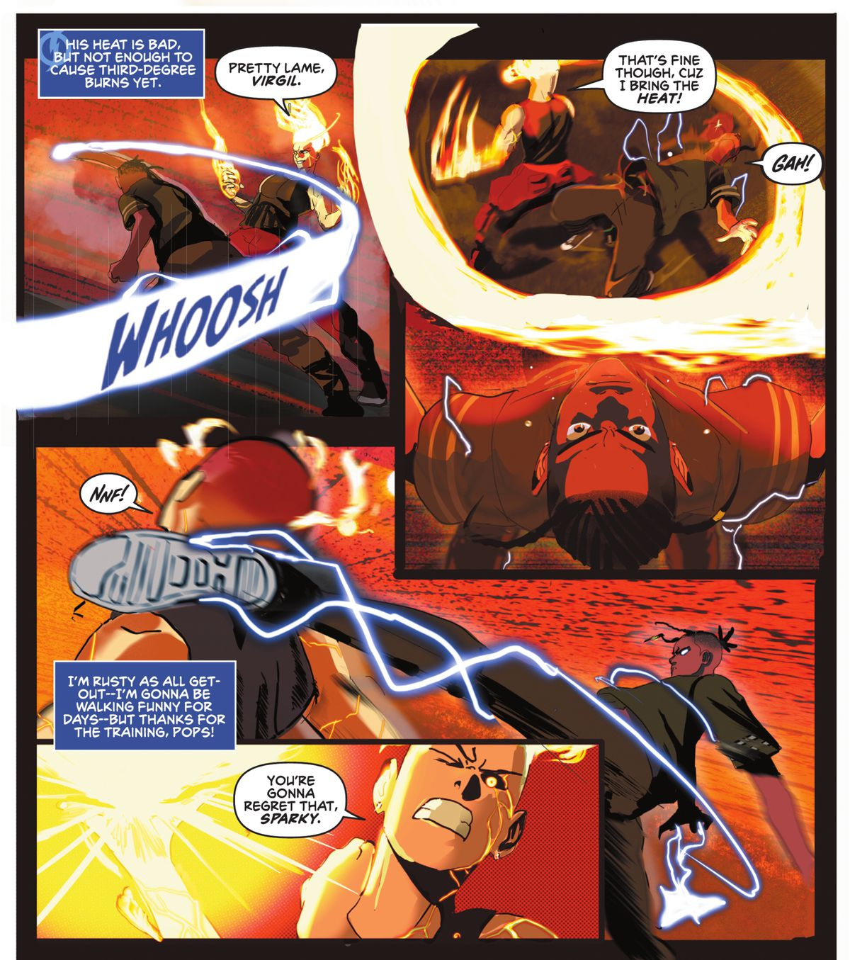 Static dodges a blast of fire from his opponent by bending backwards at his knees, and then lashes out with an exaggerated roundhouse kick to the back of his neck, speed lines, shortened perspective, and stretched anatomy lending the movement a sense of speed and strength in Static: Season One #1 (2021).