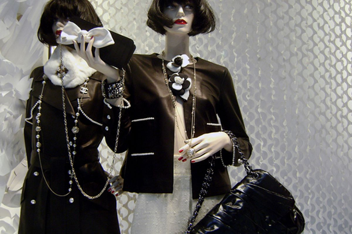 """Bewigged mannequins at Chanel on 57th Street via <a href=""""http://www.flickr.com/photos/jetsetcd/3863757216/in/pool-rackedny"""">Jetsetcd</a>/Racked Flickr Pool"""