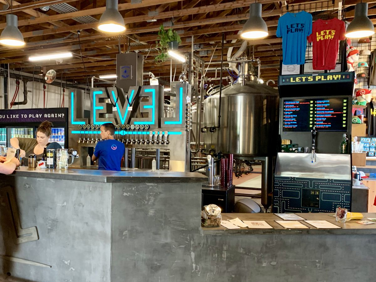 Level Beer concrete counter and taps