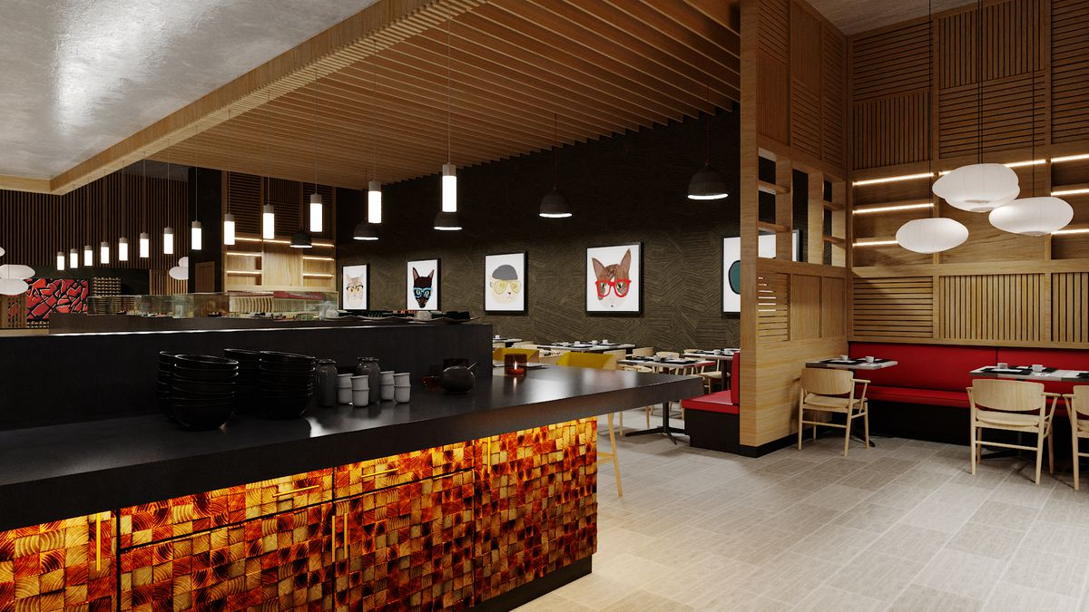 A rendering of a pan-Asian restaurant