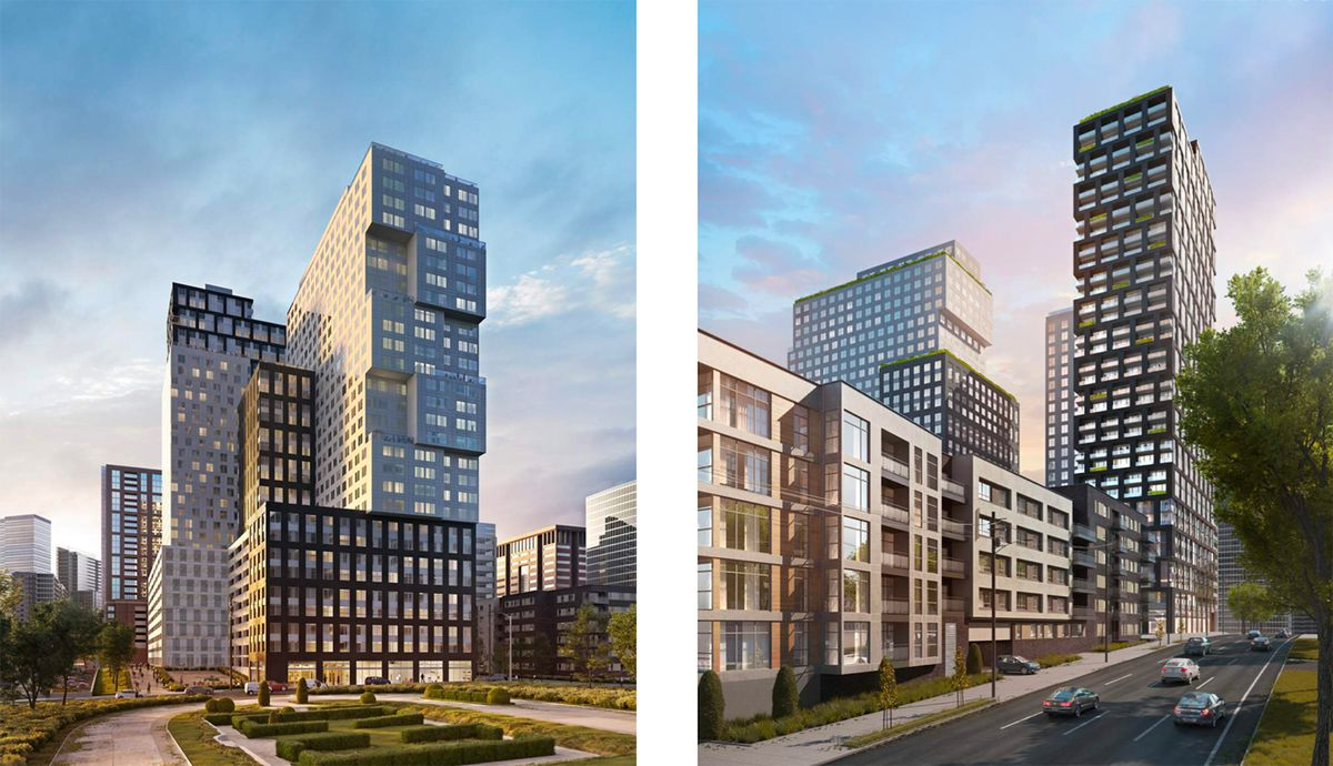 A rendering on the left shows what the multi-tower complex would look like from Spring Street. The buildings feature largely geometric architecture with abstract, rectangular protrusions. The rendering on the right also shows those details, although the image better illustrates how the non-student apartment tower would impose on the Midtown landscape.