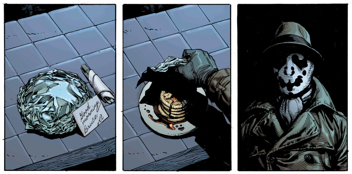 Rorschach discovers a plate of pancakes in Wayne Manor, Doomsday Clock #2, DC Comics 2017.