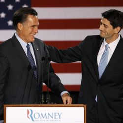 House Budget Committee Chairman Rep. Paul Ryan, R-Wis. introduces Republican presidential candidate, former Massachusetts Gov. Mitt Romney before Romney spoke at the Grain Exchange in Milwaukee, Tuesday, April 3, 2012.\r\n