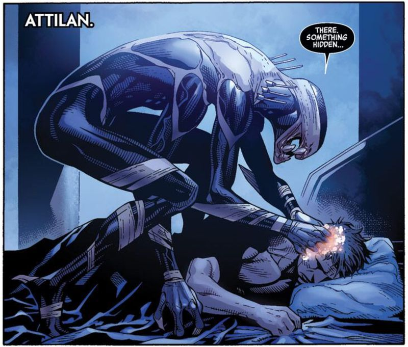 An Outrider reads the mind of Black Bolt in Infinity #1 (2014), Marvel Comics.