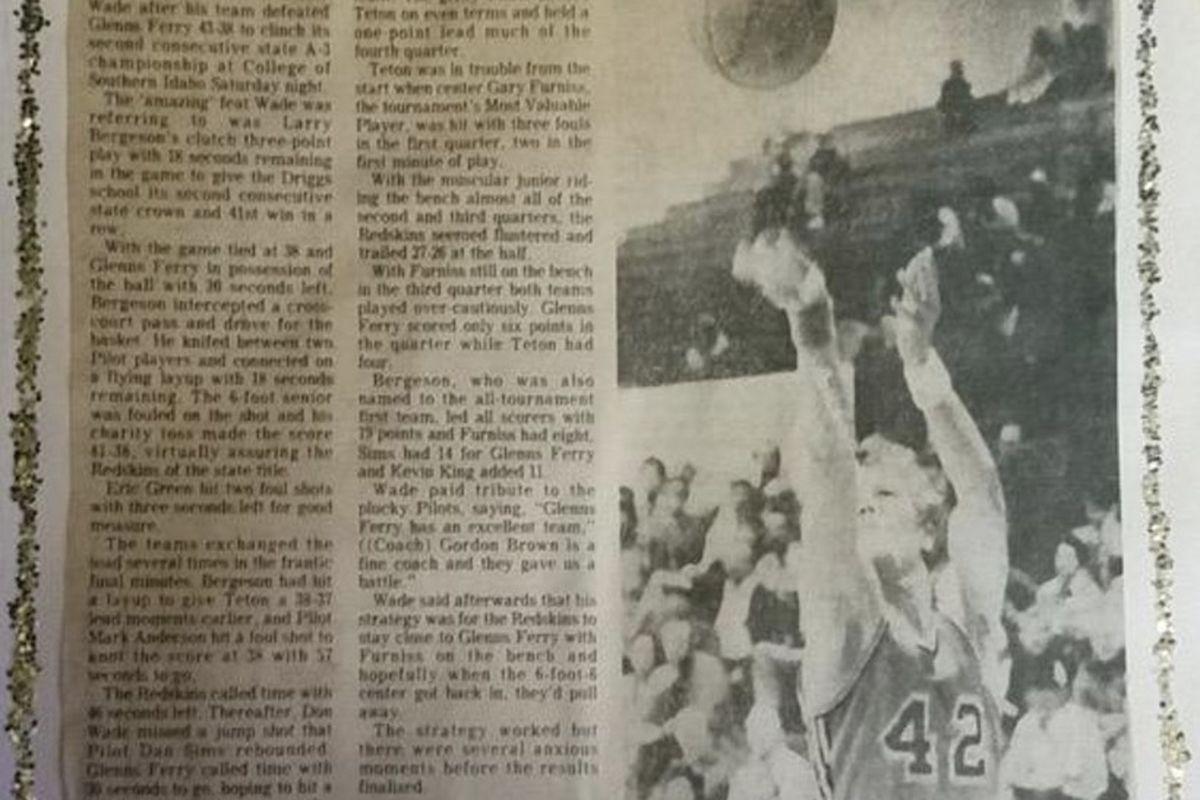 Newspaper clipping touting Teton's state title.